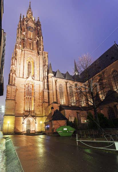 Esős este Frankfurt katedrális utca utazás Stock fotó © benkrut