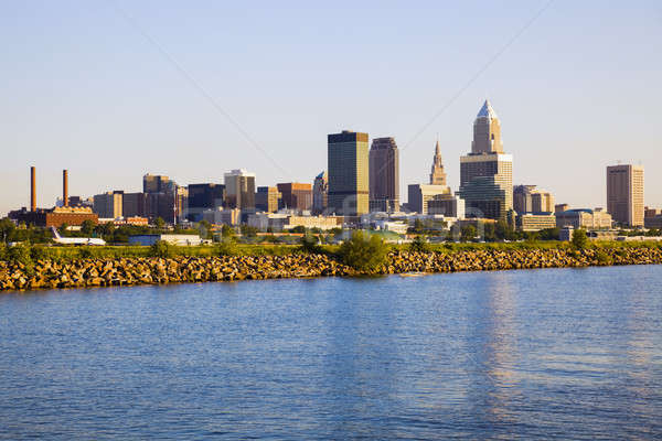 Cleveland skyline seen from Lake Erie Stock photo © benkrut