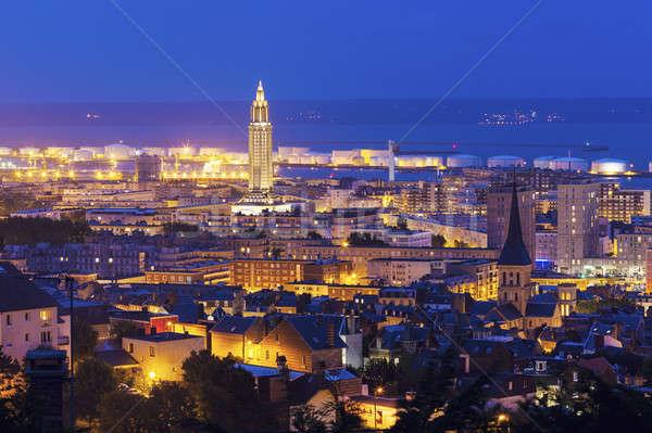 Панорама ночь Нормандия город Церкви синий Сток-фото © benkrut