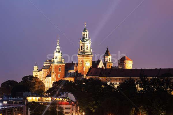 королевский замок собора Краков Польша вечер Сток-фото © benkrut