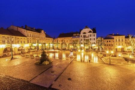 Fő- tér kék utazás sziluett Európa Stock fotó © benkrut