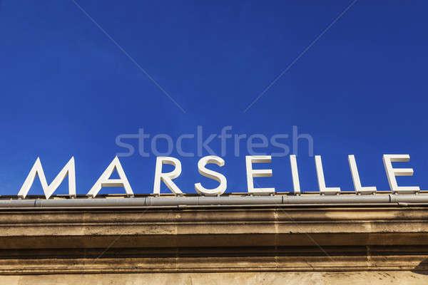 Marseille felirat vasútállomás épület városi építészet Stock fotó © benkrut