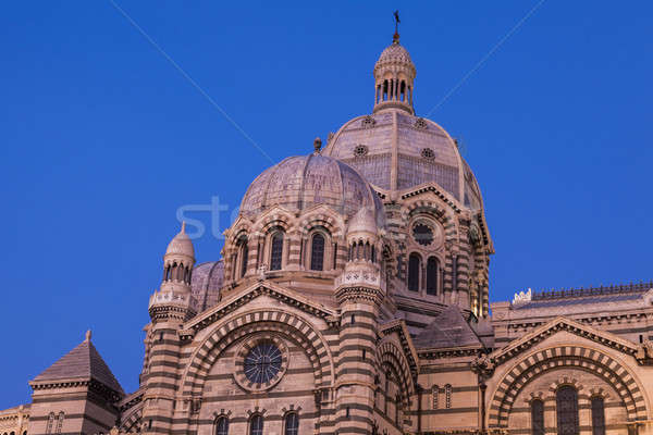Marseille katedrális este égbolt város templom Stock fotó © benkrut