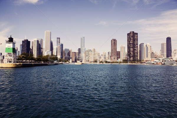 Foto stock: Panorama · Chicago · lago · Michigan · arquitetura · arranha-céu