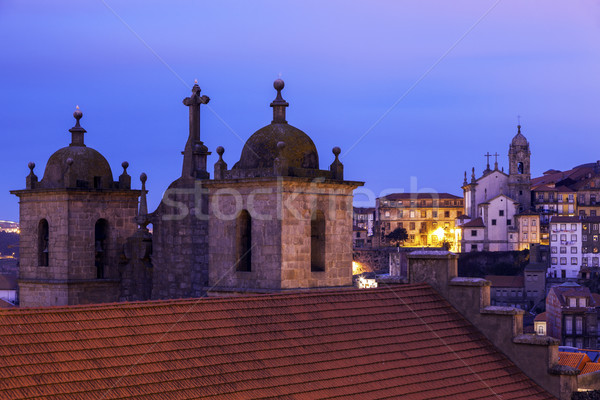 Se Cathedral in Porto at sunrise Stock photo © benkrut