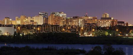 Skyline saskatchewan tramonto costruzione città grattacielo Foto d'archivio © benkrut