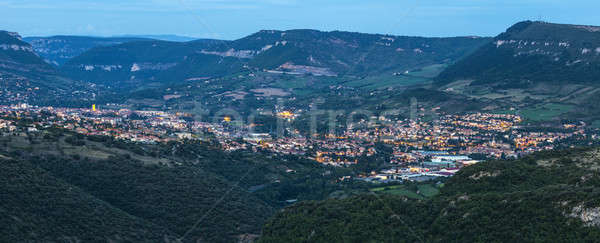Millau panorama at evening Stock photo © benkrut
