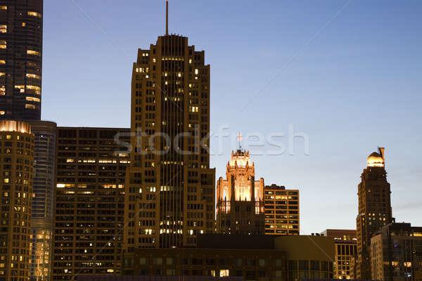 Nuit Chicago Michigan architecture gratte-ciel Photo stock © benkrut