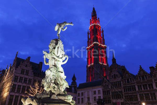 Brabo Fountain on Grote Markt in Antwerp Stock photo © benkrut
