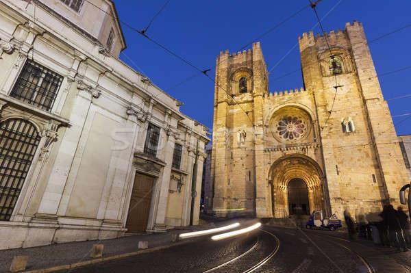Lisbon Cathedral at night Stock photo © benkrut