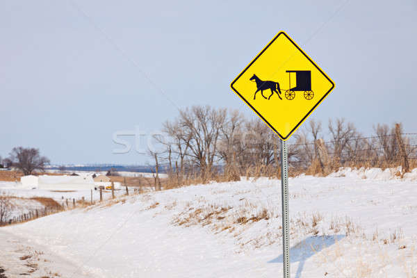 Amish carriage on the road sign  Stock photo © benkrut