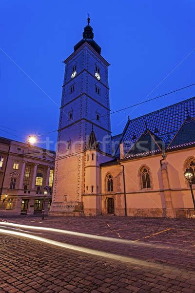 Iglesia Zagreb noche Croacia ciudad azul Foto stock © benkrut
