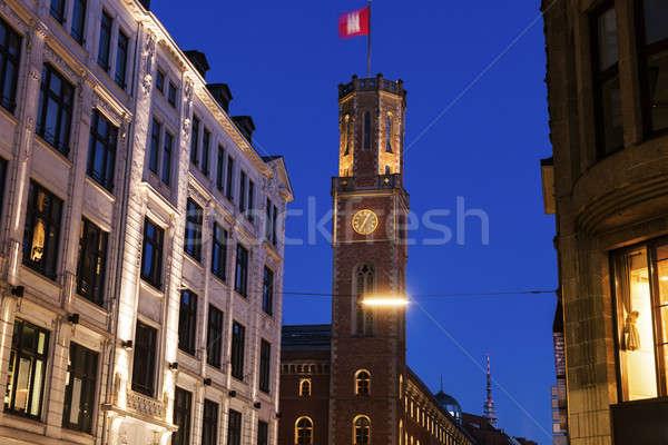 Vieux bureau de poste hambourg Allemagne bleu Voyage Photo stock © benkrut