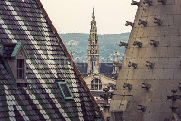 Bécs város előcsarnok katedrális Ausztria égbolt Stock fotó © benkrut
