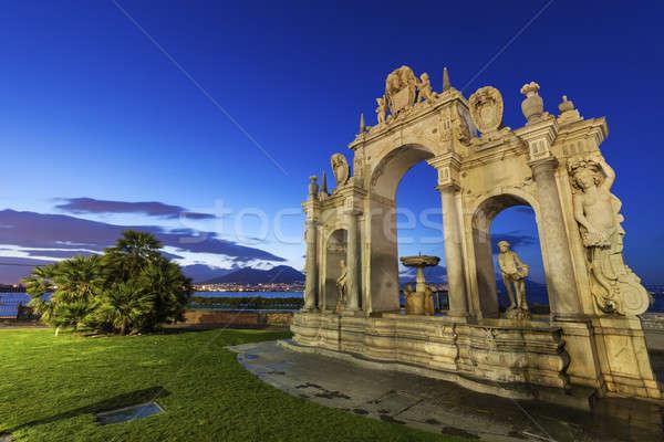 çeşme Napoli şehir gündoğumu ufuk çizgisi mimari Stok fotoğraf © benkrut