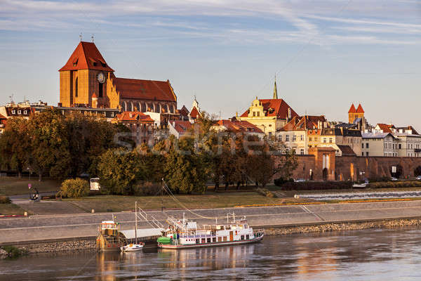 Torun Old Town from the bridge at sunset Stock photo © benkrut