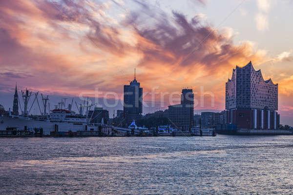 Amanecer hamburgo río Alemania ciudad viaje Foto stock © benkrut