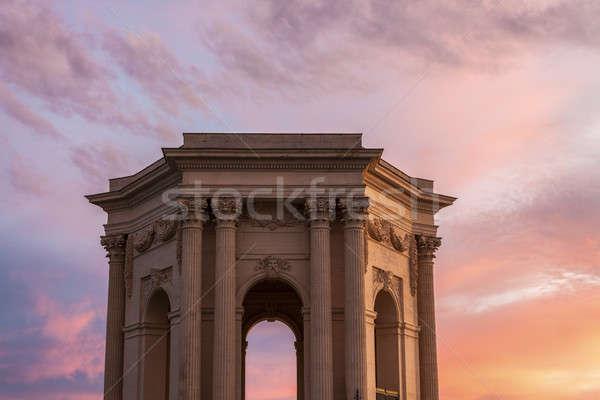 Céu edifício pôr do sol viajar linha do horizonte nuvem Foto stock © benkrut