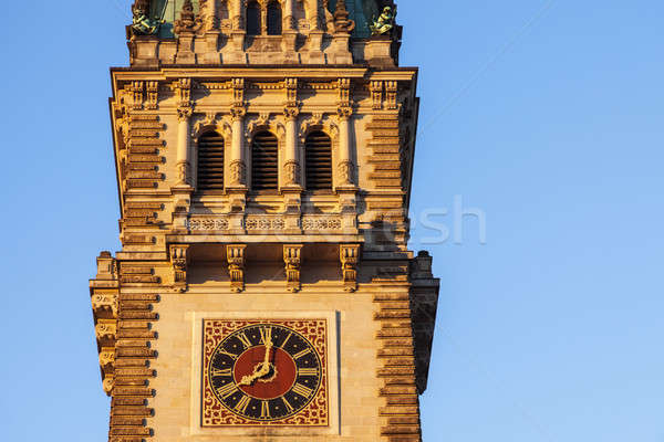 古い 市 ホール ハンブルク ドイツ 日没 ストックフォト © benkrut
