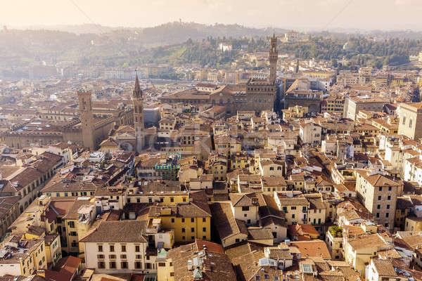 Florence légifelvétel város Toszkána Olaszország épület Stock fotó © benkrut