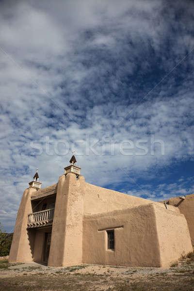 Kilise New Mexico ABD gökyüzü Stok fotoğraf © benkrut