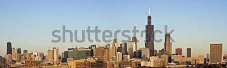 Panorama Chicago gün batımı Illinois ABD ufuk çizgisi Stok fotoğraf © benkrut