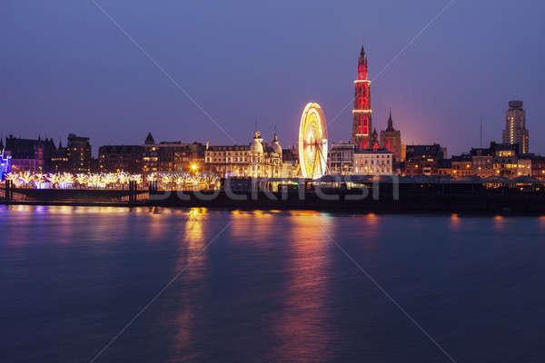 Panorama of Antwerp across Scheldt River Stock photo © benkrut