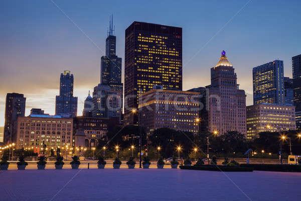 Sziluett Chicago naplemente Illinois USA épület Stock fotó © benkrut