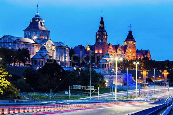 Szczecin architecture along Oder River Stock photo © benkrut