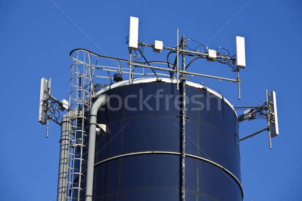 Hücre üst gökyüzü çiftlik tarım anten Stok fotoğraf © benkrut