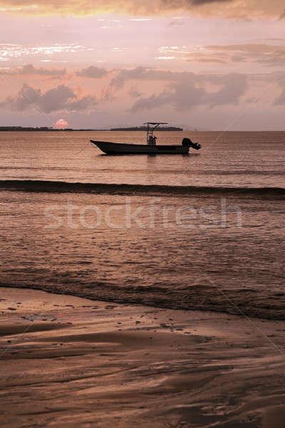 Fiji pôr do sol praia água sol viajar Foto stock © benkrut