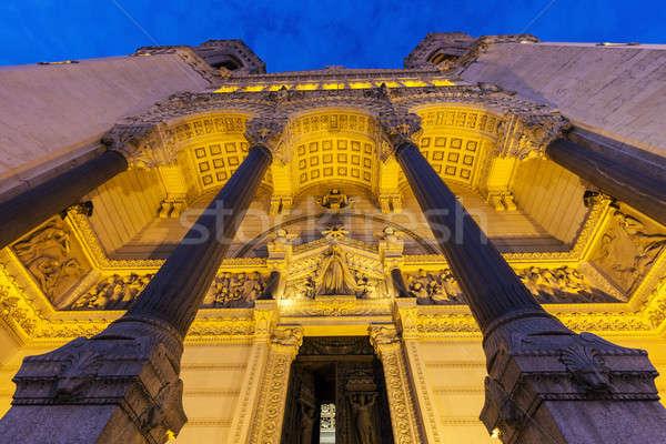 Bazilika Lyon égbolt épület templom sziluett Stock fotó © benkrut