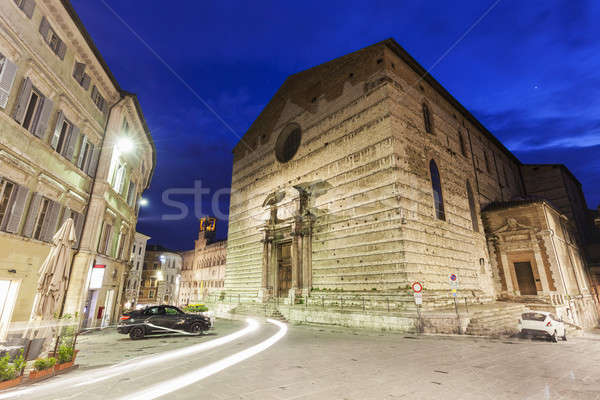Piazza IV Novembre and Cathedral of San Lorenzo in Perugia Stock photo © benkrut