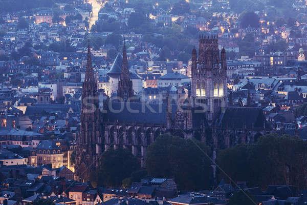 修道院 教会 ノルマンディー フランス 市 日没 ストックフォト © benkrut