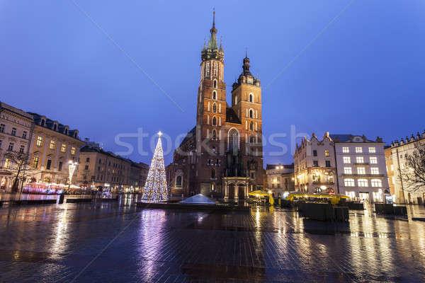 Navidad principal cuadrados cracovia cielo lluvia Foto stock © benkrut