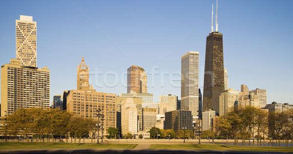 ősz Chicago arany part épületek Stock fotó © benkrut