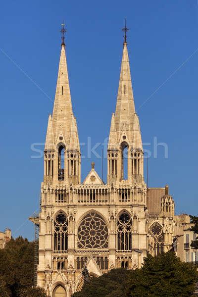 Templom Marseille város kék városi sziluett Stock fotó © benkrut