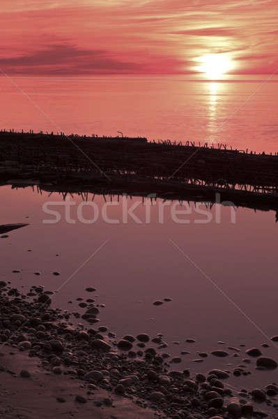 судно крушение закат пород Сток-фото © benkrut