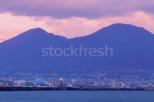 Naples Lighthouse and Vesuvius at sunset Stock photo © benkrut
