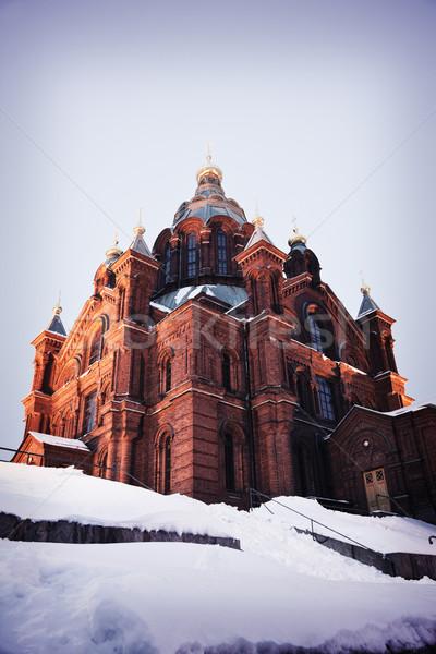 Katedral Helsinki Finlandiya kare fotoğraf bağbozumu Stok fotoğraf © benkrut