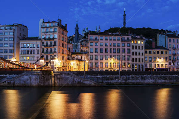 Arquitetura Lyon rio edifício ponte azul Foto stock © benkrut