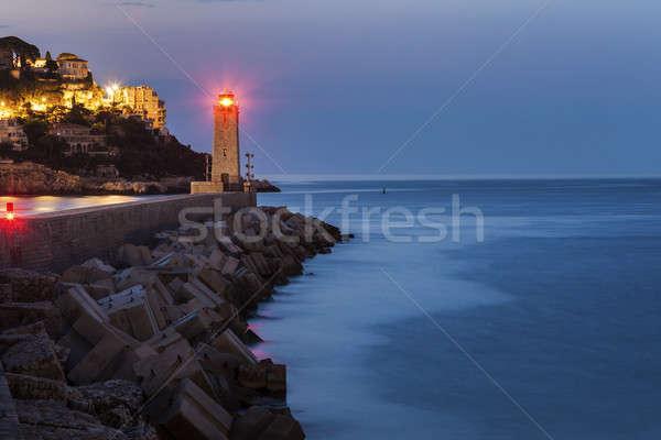 Bom farol nascer do sol francês cidade viajar Foto stock © benkrut