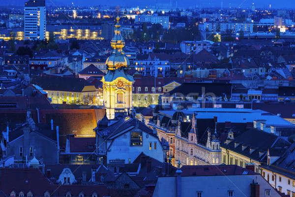 Stadtpfarrkirche in Graz at night Stock photo © benkrut