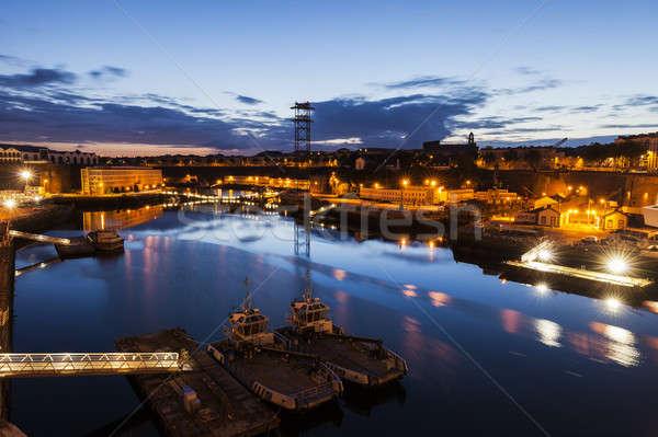порта ночь небе город синий городского Сток-фото © benkrut
