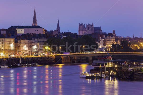 Foto stock: Panorama · amanecer · cielo · ciudad · azul
