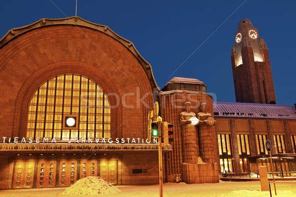 Helsinki ana tren istasyonu Finlandiya akşam zaman Stok fotoğraf © benkrut