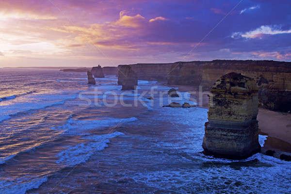 Doze Austrália pôr do sol praia água mar Foto stock © benkrut