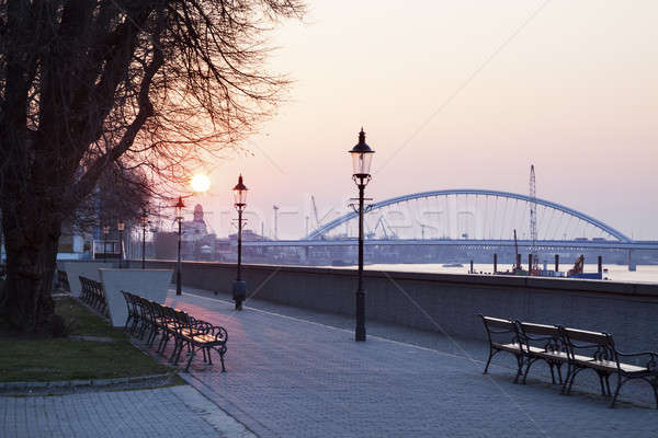 Apollo Bridge on Danube River at sunrise Stock photo © benkrut
