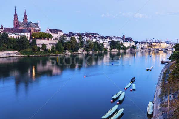 Basel architecture along Rhine River Stock photo © benkrut