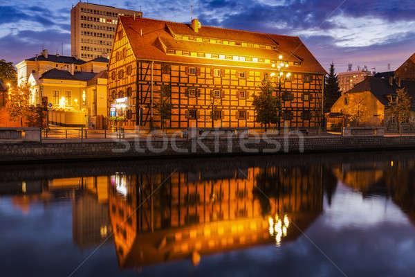 Colorful architecutre of Bydgoszcz by Brda River Stock photo © benkrut